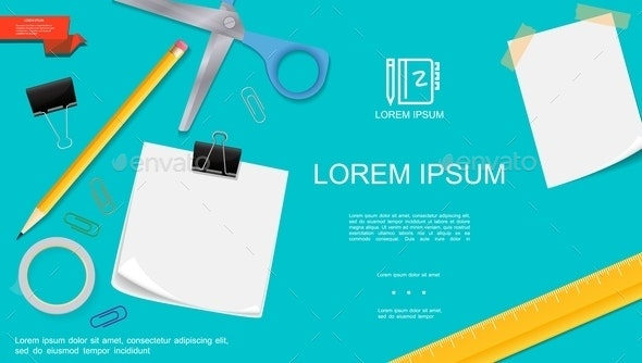 Realistic Office Stationery Template - Miscellaneous Vectors