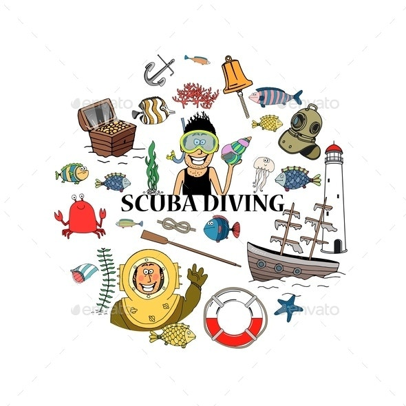 Sketch Scuba Diving Round Concept - Miscellaneous Vectors