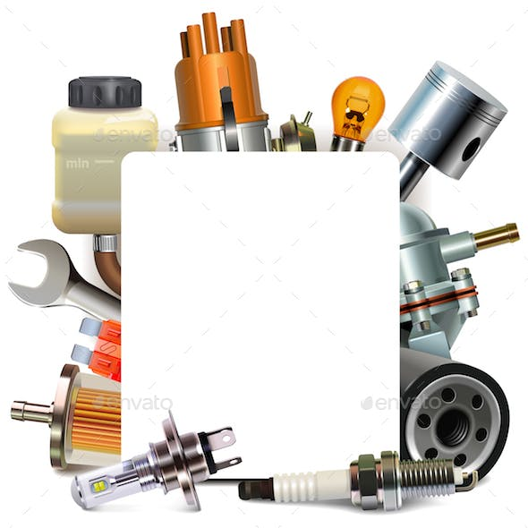 Vector Blank Frame with Automotive Parts