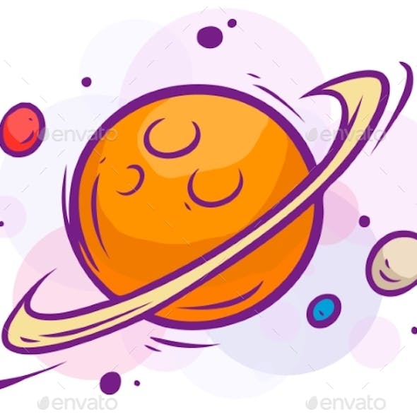 Cartoon Space Illustration with Saturn and Planets