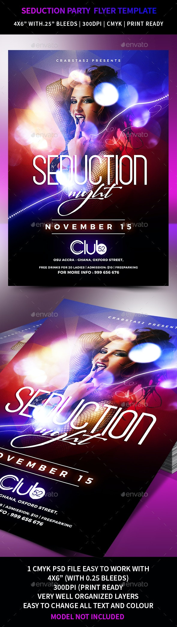 Seduction Party Flyer Template - Events Flyers