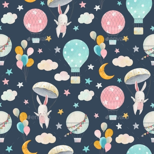 Watercolor Cute Baby Pattern - Miscellaneous Illustrations