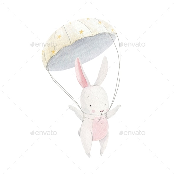 Watercolor Baby Rabbit Skydiver - Miscellaneous Illustrations