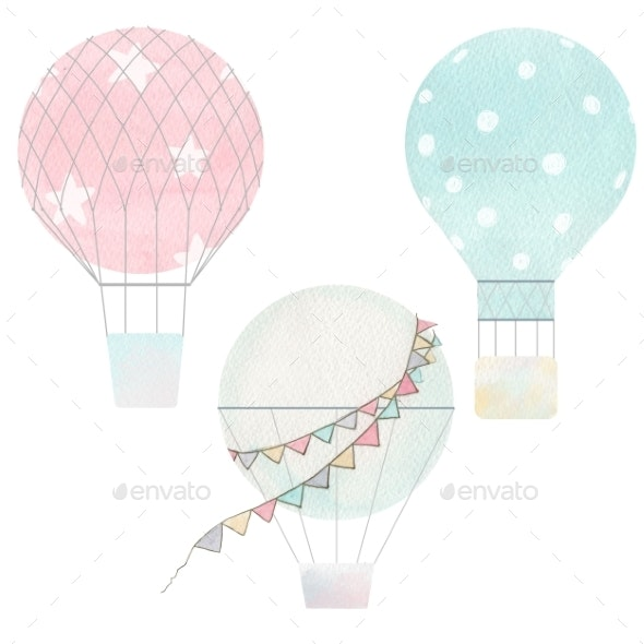 Watercolor Air Baloons Collection - Miscellaneous Illustrations