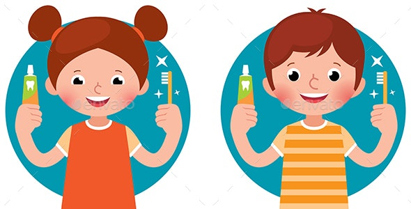 Children Girl and Boy Holding Toothpaste and Brush - People Characters