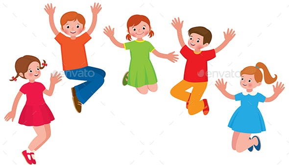 Group of Cheerful Children in a Jump - People Characters