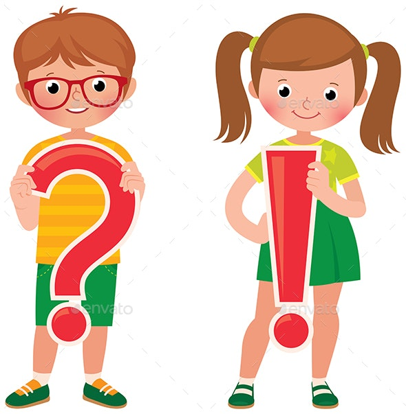 Children Students are Holding a Question and Exclamation Mark - People Characters