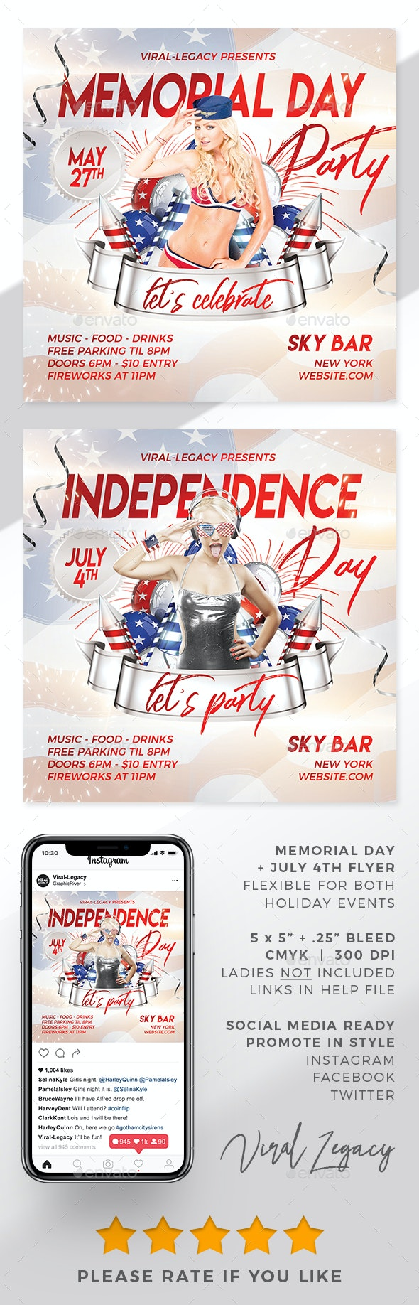 Memorial Day + 4th of July Party Flyer - Flyers Print Templates