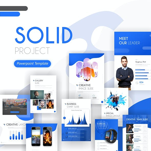 Solid Project Creative Portrait PowerPoint Template