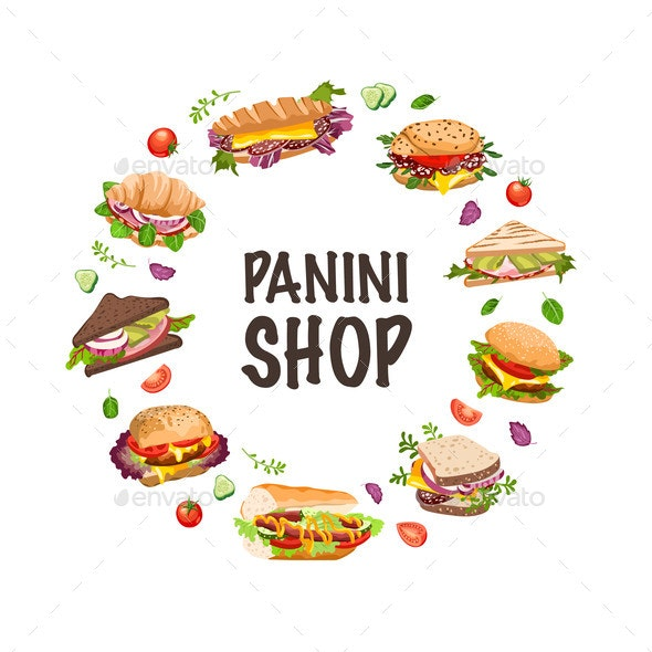 Sandwiches and Panini Vector  Illustration - Food Objects