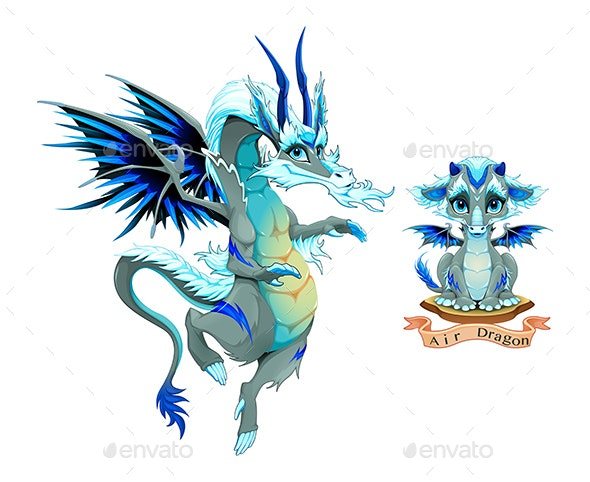 Dragon of Air Element in Two Variation Puppy and Adult - Animals Characters