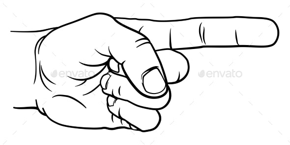 Hand Pointing Direction Finger Engraving Woodcut - Miscellaneous Vectors