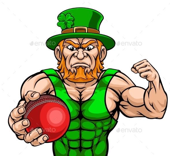 Leprechaun Holding Cricket Ball Sports Mascot - Miscellaneous Characters