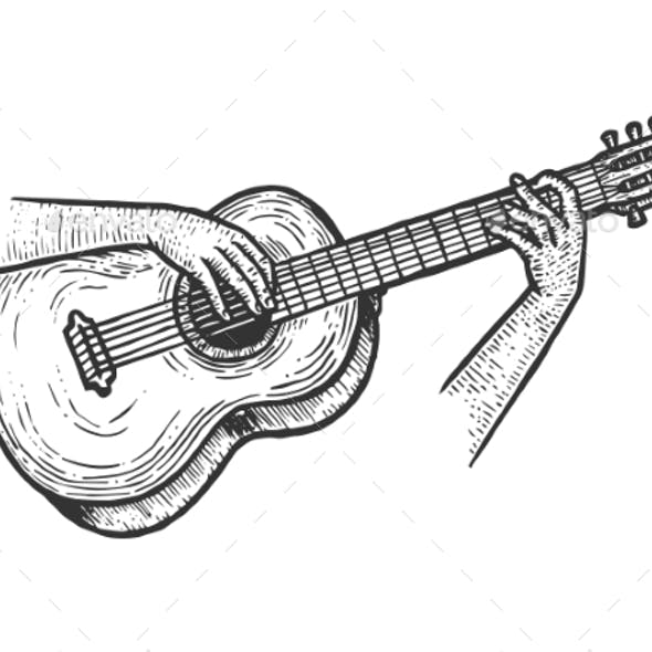 Hands Playing Acoustic Guitar Sketch Engraving