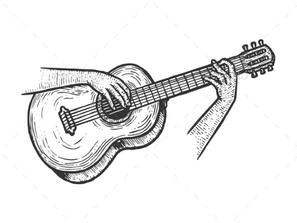 Hands Playing Acoustic Guitar Sketch Engraving - Miscellaneous Vectors