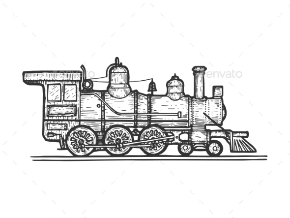 Old Steam Locomotive Transport Sketch Engraving - Miscellaneous Vectors