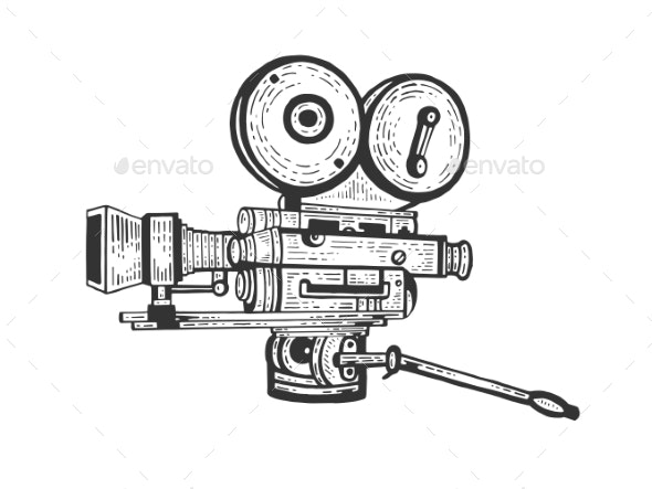 Old Movie Camera Engraving Vector Illustration - Miscellaneous Vectors