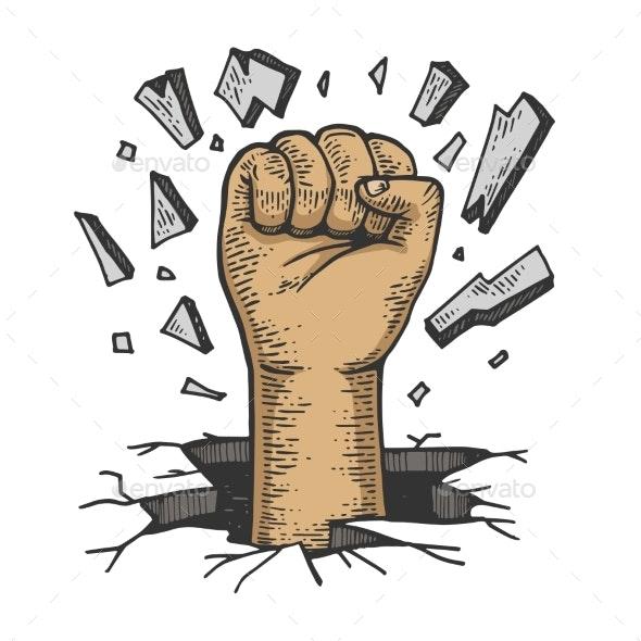 Human Fist Crashes Wall Color Sketch Vector - Miscellaneous Vectors