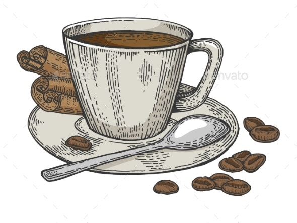 Cup of Coffee and Beans Color Sketch Engraving - Food Objects