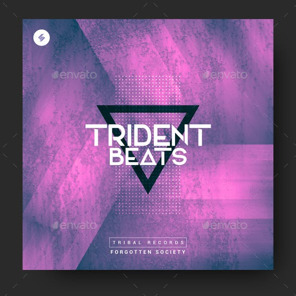Trident Beats - Electronic Music Album Cover Template