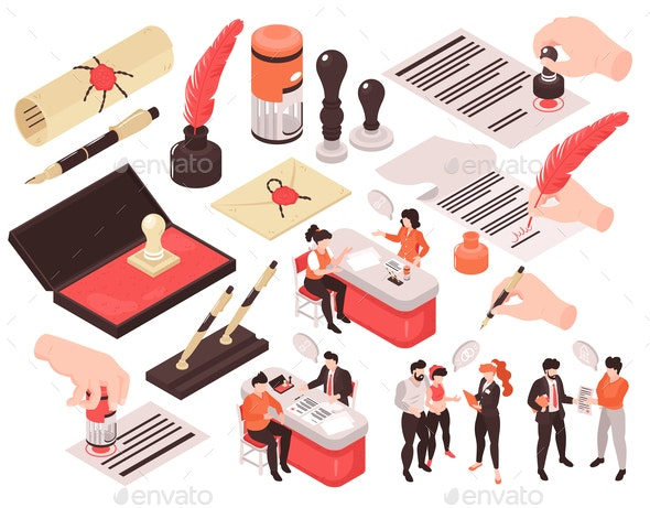 Notary Services Isometric Set - Concepts Business