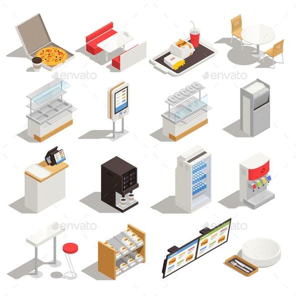 Fast Food Service Isometric Set - Food Objects