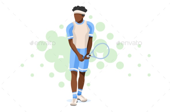 Man and Racket Icon - Sports/Activity Conceptual