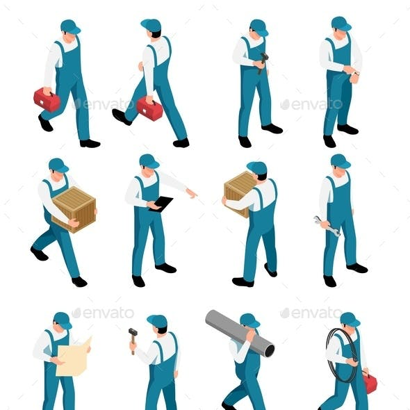 Workers Isometric Icons Set