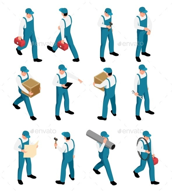 Workers Isometric Icons Set - People Characters