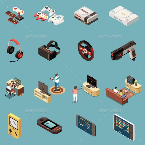 Gaming Isometric Icon Set - Computers Technology
