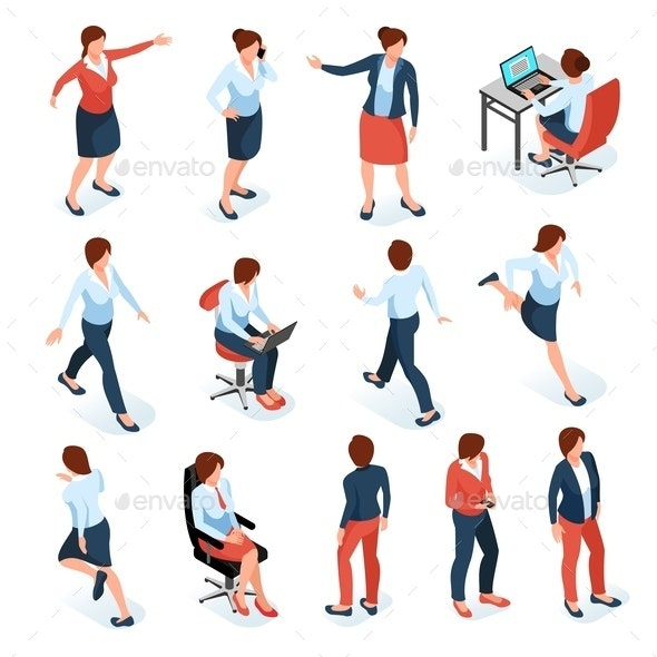 Businesswomen Isometric Set - People Characters