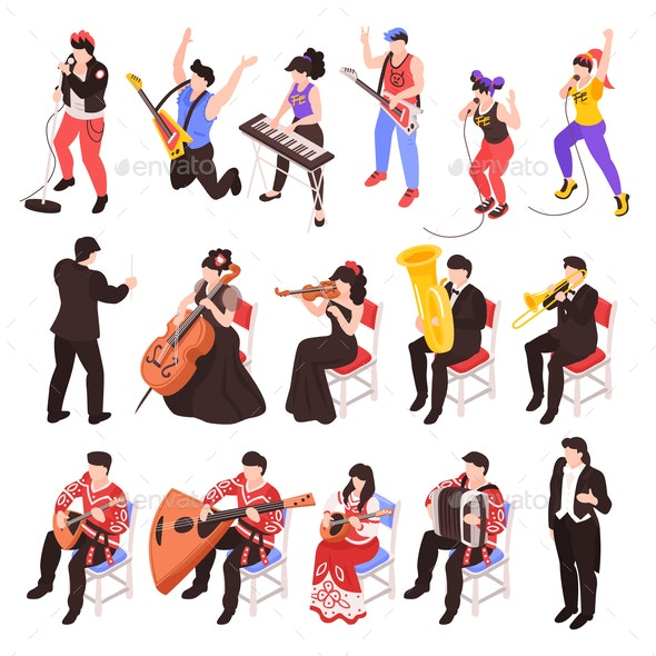 Musicians Isometric Set - People Characters