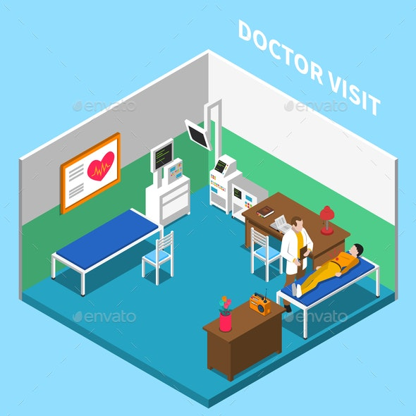 Medical Appointment Isometric Composition - Health/Medicine Conceptual