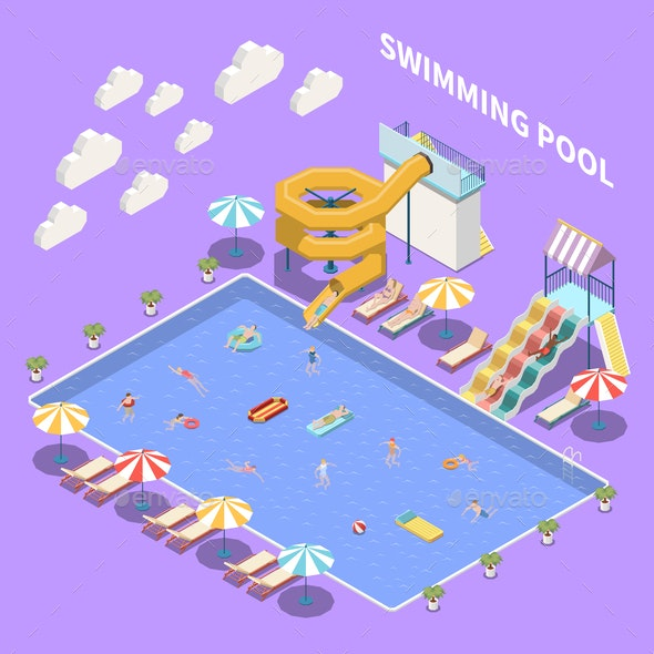 Open Pool Aquapark Composition - Sports/Activity Conceptual