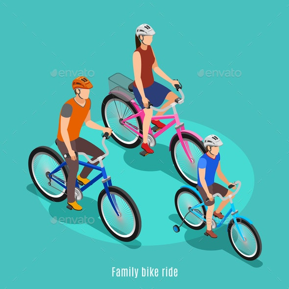 Family Bike Ride Isometric Background - Sports/Activity Conceptual