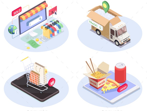 Isometric E-Commerce Compositions Set - Industries Business