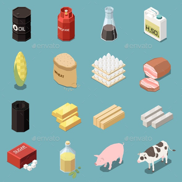 Isometric Commodity Icons Collection - Industries Business