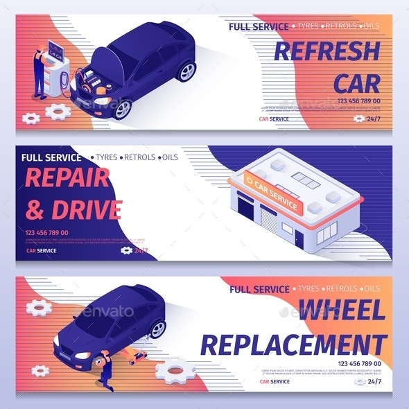 Set of Isometric Banners for Auto Repair Service - Services Commercial / Shopping