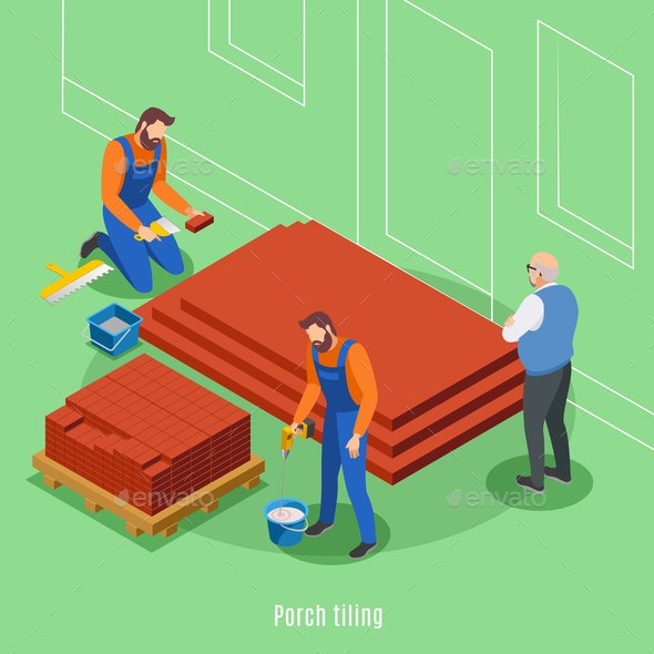 Porch Tiling Isometric Background - Industries Business