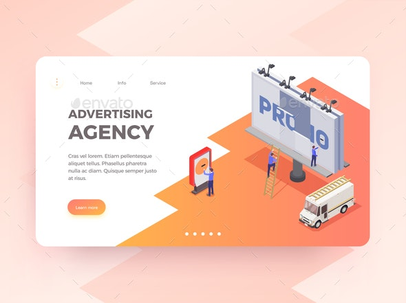 Advertising Agency Isometric Banner - Concepts Business