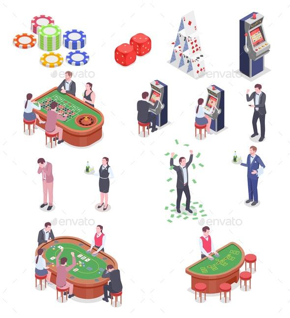 Casino Isometric Icons Set - People Characters