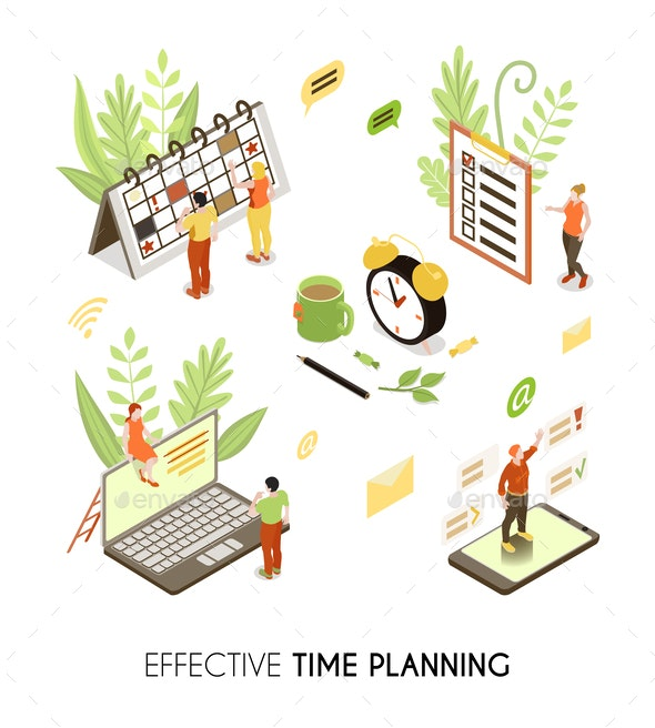 Effective Time Planning Isometric Background - Miscellaneous Vectors