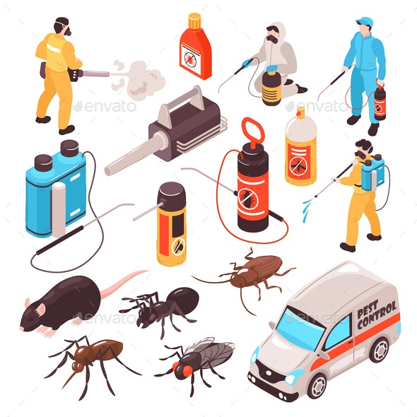 Pest Control Isometric Set - Industries Business
