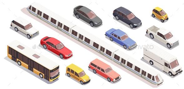 Transport Isometric Icons Set - Miscellaneous Vectors