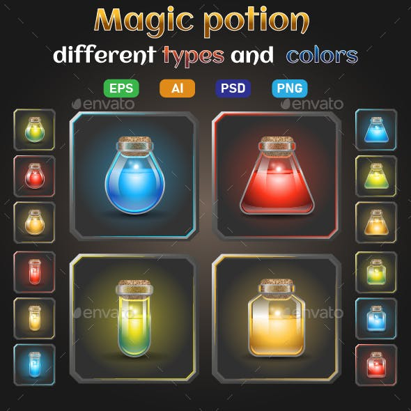 Icon Set of Bottles with Glowing Liquid Potion