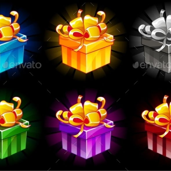 Gift Box in Different Colors Cartoon Isometric