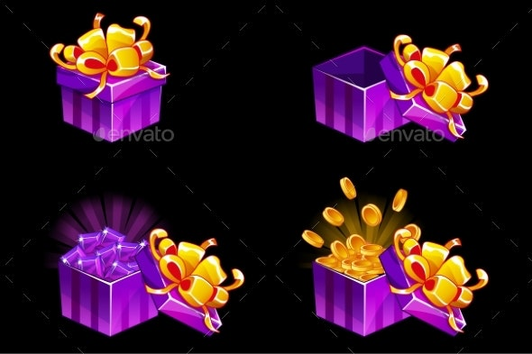 Gift Box Open and Closed Cartoon Isometric Gift - Man-made Objects Objects