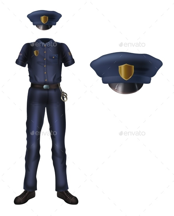 Police Uniform and Cap - People Characters
