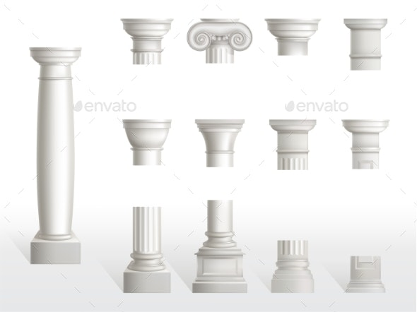 Parts of Ancient Column Base Shaft and Capital - Buildings Objects