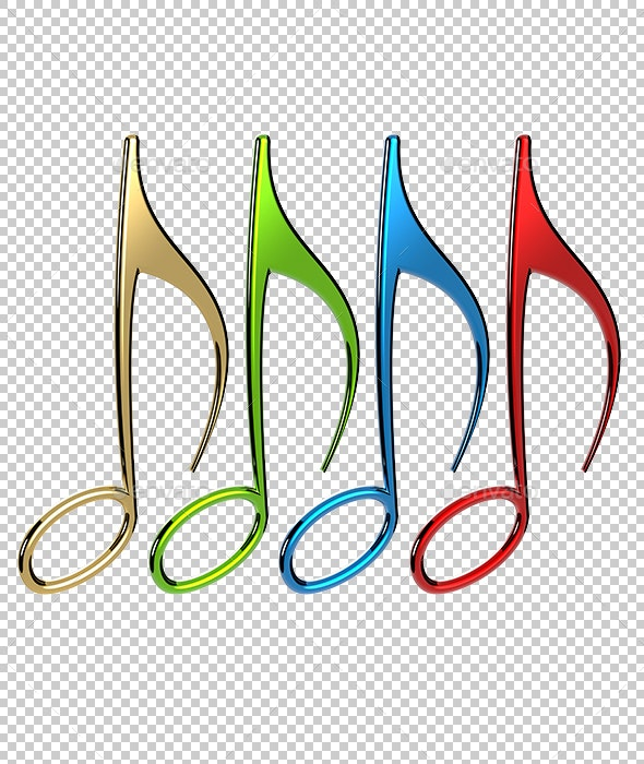 Music Notes - Objects 3D Renders